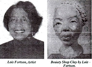 "Local artist Lois Fortson had her Visual Voices exhibit entry purchased by the Mills African American art collection in Indianapolis, Indiana. Her entry titled: ""beauty Shop"" is a clay portrait and is the second clay portrait purchased by the Mills collection this year."